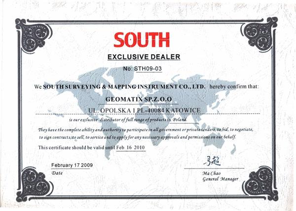 Certyfikat SOUTH Exclusive Dealer&Service 2009/2010