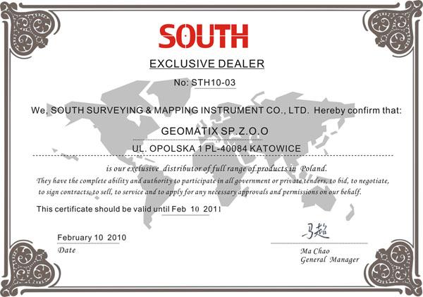 Certyfikat SOUTH Exclusive Dealer&Service 2010/2011