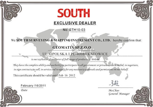 Certyfikat SOUTH Exclusive Dealer&Service 2011/2012