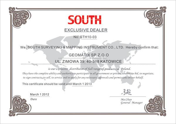 Certyfikat SOUTH Exclusive Dealer&Service 2012/2013