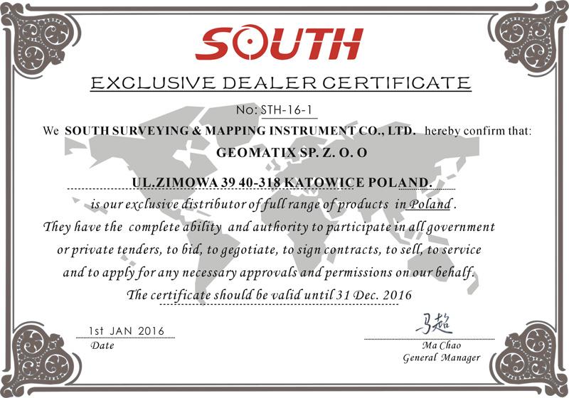 Certyfikat SOUTH Exclusive Dealer&Service 2016