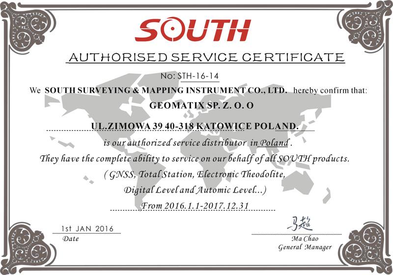 Certyfikat SOUTH Authorized Service 2016-2017