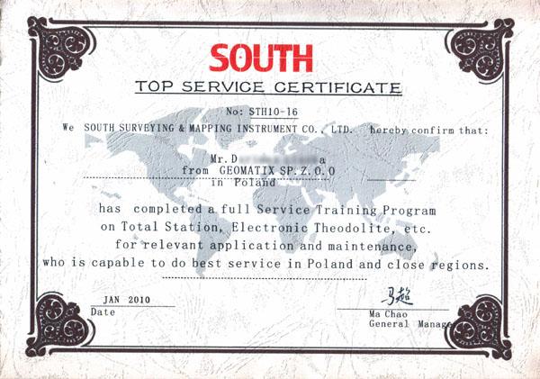 SOUTH Top Service Certificate 2010 - Tachimetry elektroniczne, teodolity elektroniczne, itp.