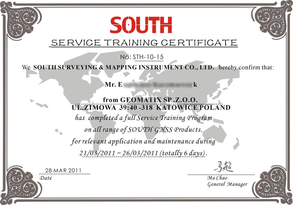 SOUTH Service Training Certificate 2011 - Produkty GNSS GPS
