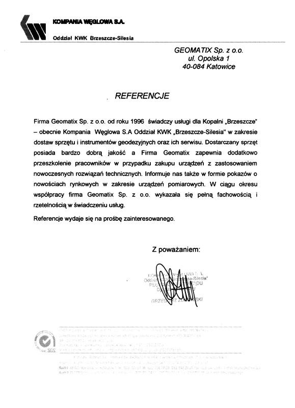 Referencje 2002 dla sprzedaży, serwisu geodezyjnego i wsparcia technicznego  od Kompanii Węglowej S.A., Oddział KWK Brzeszcze-Silesia