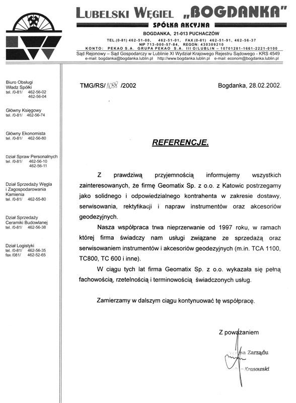 """Referencje 2002 dla sprzedaży i serwisu geodezyjnego od Spółki Lubelski Węgiel """"BOGDANKA"""" S.A."""