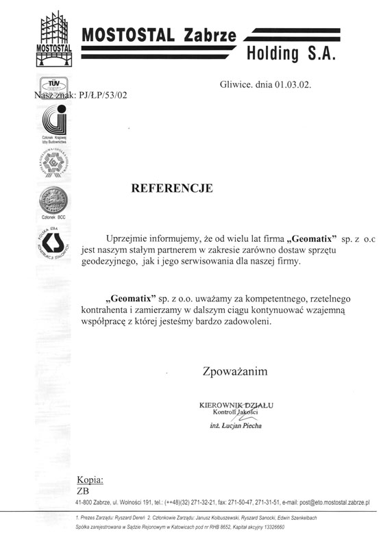 Referencje 2002 dla sprzedaży i serwisu geodezyjnego od Mostostalu Zabrze Holding S.A.