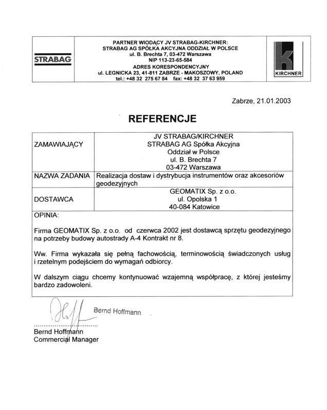 Referencje 2003 dla sprzedaży od STRABAG AG S.A.