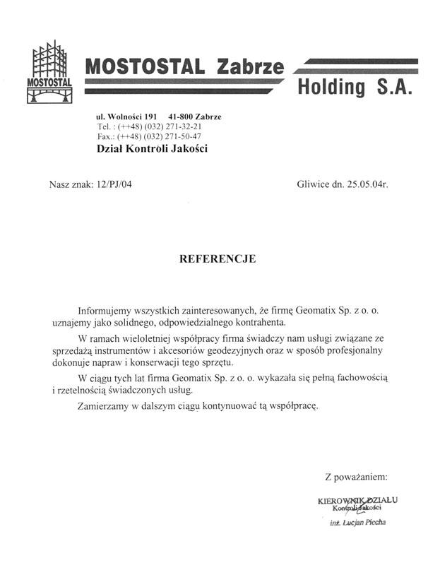 Referencje 2004 dla sprzedaży i serwisu geodezyjnego od Mostostalu Zabrze Holding S.A.
