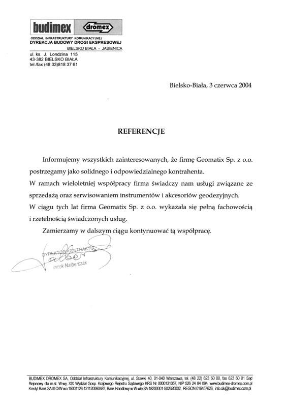 Referencje 2004 dla sprzedaży i serwisu sprzętu geodezyjnego od BUDIMEX DROMEX S.A.