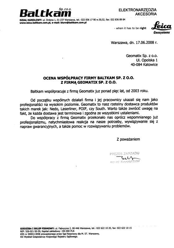 Referencje 2008 dla sprzedaży (sprzęt pomiarowy Nedo, Laserliner, FOIF, SOUTH), serwisu sprzętu geodezyjnego i wsparcia technicznego od firmy Baltkam Sp. z o.o.