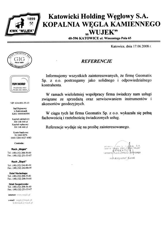 """Referencje 2008 dla sprzedaży i serwisu sprzętu geodezyjnego od Katowickiego Holdingu Węglowego S.A. KWK """"Wujek"""""""