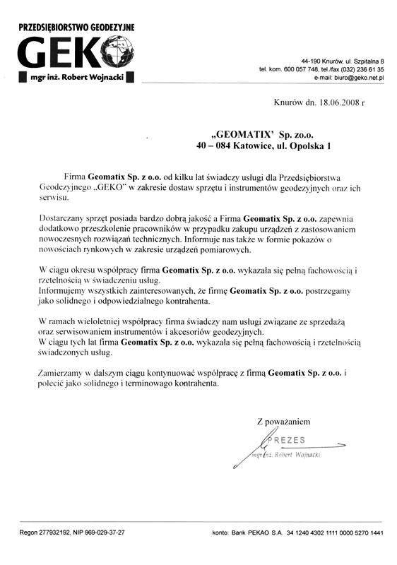 Referencje 2008 dla sprzedaży, serwisu sprzętu geodezyjnego i wsparcia technicznego od Przedsiębiorstwa Geodezyjnego GEKO