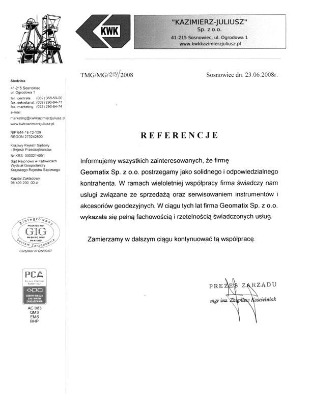 """Referencje 2008 dla sprzedaży oraz serwisu sprzętu geodezyjnego i akcesoriów geodezyjnych od KWK """"KAZIMIERZ-JULIUSZ"""" Sp. z o.o."""