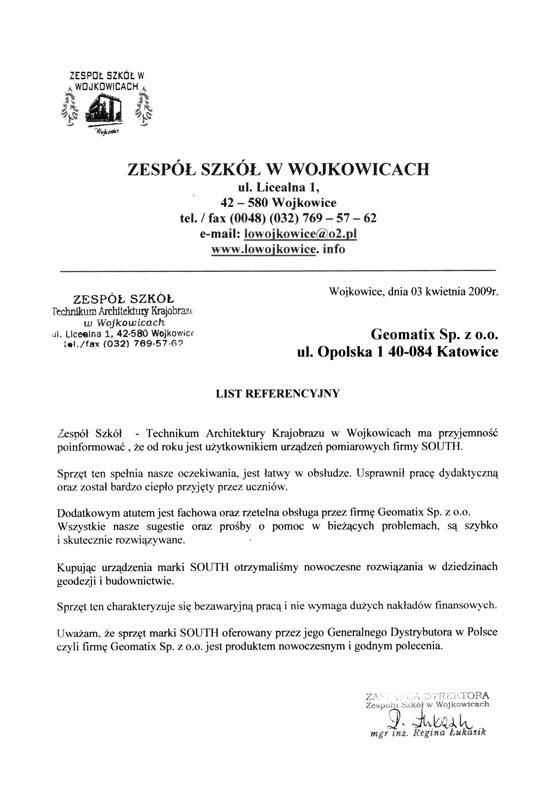 Referencje 2009 dla sprzedaży  i wsparcia technicznego oraz opinia o sprzęcie geodezyjnym (tachimetr SOUTH) od Zespołu Szkół w Wojkowicach, Technikum Architektury Krajobrazu
