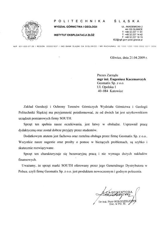 Referencje 2009 dla sprzedaży  i wsparcia technicznego oraz opinia o sprzęcie pomiarowym SOUTH od Politechniki Śląskiej, Wydziału Górnictwa i Geologii