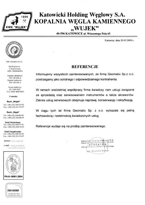 """Referencje 2009 dla sprzedaży i serwisu geodezyjnego od Katowickiego Holdingu Węglowego S.A. KWK """"Wujek"""""""