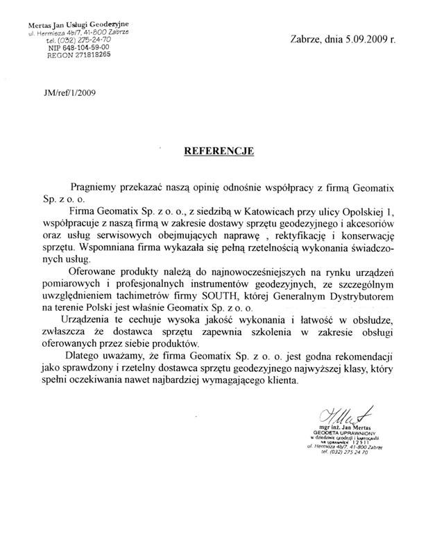 Referencje 2009 dla sprzedaży i wsparcia technicznego oraz opinia o sprzęcie geodezyjnym SOUTH od firmy Mertas Jan Usługi Geodezyjne