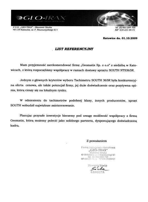 """Referencje 2009 dla sprzedaży i opinia o sprzęcie geodezyjnym (tachimetr SOUTH) od FUH """"GEO-TRAX"""""""