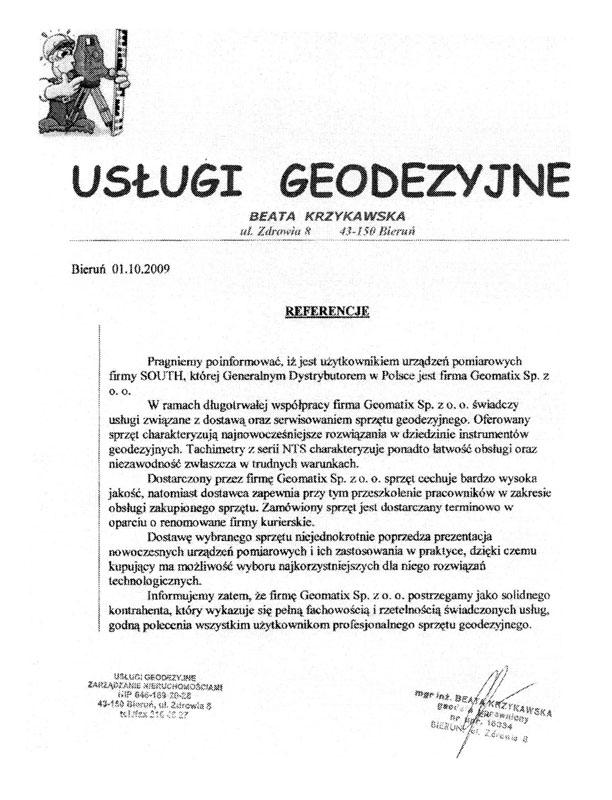 Referencje 2009 dla sprzedaży, doradztwa i wsparcia technicznego oraz opinia o sprzęcie pomiarowym (tachimetry SOUTH) od firmy Usługi Geodezyjne Beata Krzykawska