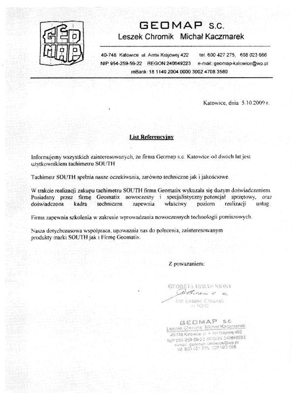 Referencje 2009 dla sprzedaży i opinia o sprzęcie pomiarowym (tachimetr SOUTH) od firmy GEOMAP s.c