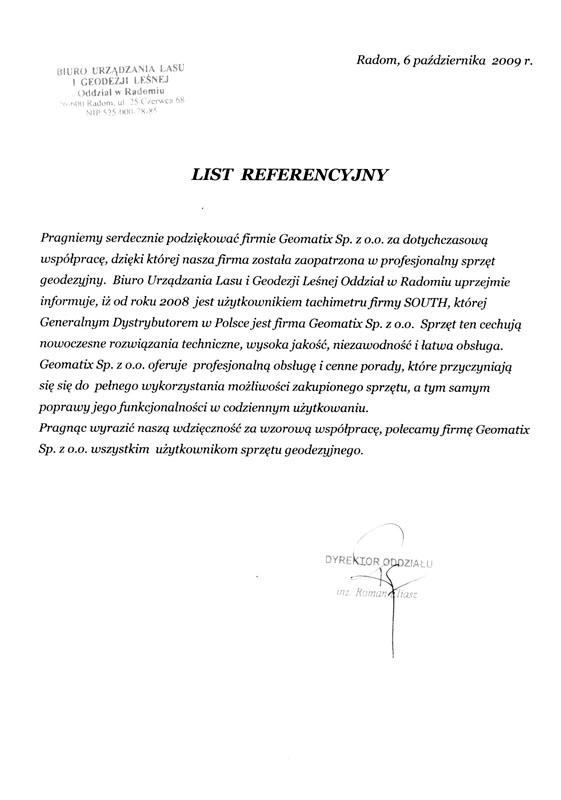 Referencje 2009 dla sprzedaży i wsparcia technicznego oraz opinia o sprzęcie pomiarowym (tachimetr SOUTH) od Biura Urządzania Lasu i Geodezji Leśnej o/Radom