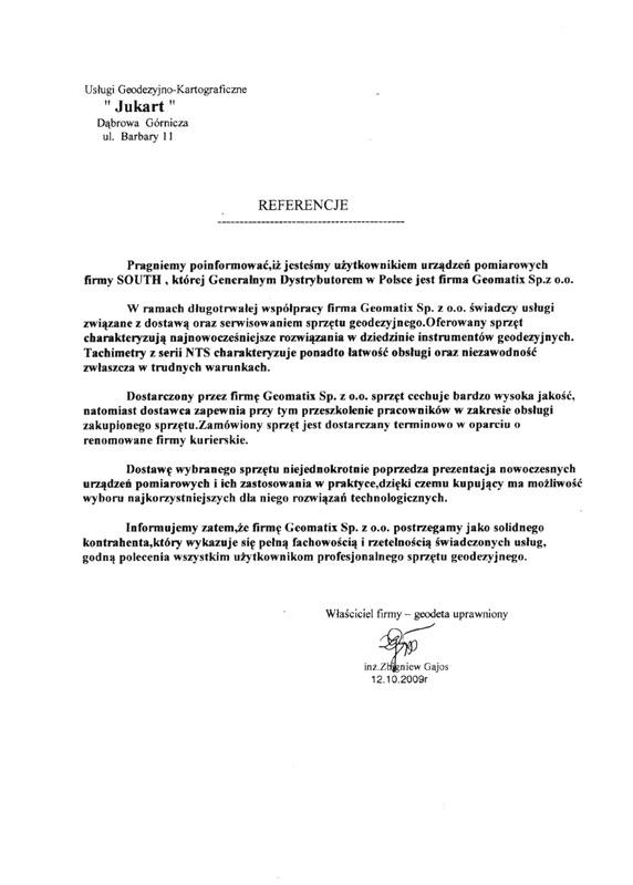 """Referencje 2009 dla sprzedaży i wsparcia technicznego oraz opinia o sprzęcie pomiarowym (tachimetr SOUTH) od firmy """"Jukart"""" Usługi Geodezyjno-Kartograficzne"""
