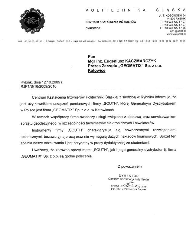 Referencje 2009 dla sprzedaży, serwisu geodezyjnego i wsparcia technicznego oraz opinia o sprzęcie pomiarowym (tachimetr SOUTH) od Politechniki Śląskiej, Centrum Kształcenia Inżynierów