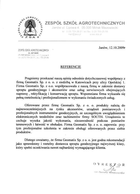 Referencje 2009 dla sprzedaży, serwisu geodezyjnego i wsparcia technicznego oraz opinia o sprzęcie pomiarowym (tachimetry, teodolity SOUTH) od Zespołu Szkół Agrotechnicznych w Janowie