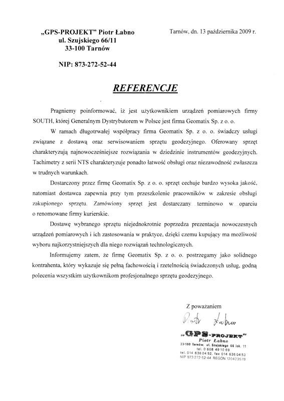 """Referencje 2009 dla sprzedaży, serwisu geodezyjnego i wsparcia technicznego oraz opinia o sprzęcie pomiarowym  (tachimetry SOUTH) od firmy """"GPS-PROJEKT"""" Piotr Łabno"""