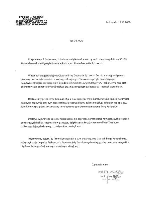 Referencje 2009 dla sprzedaży, serwisu geodezyjnego i wsparcia technicznego oraz opinia i sprzęcie pomiarowym (tachimetry SOUTH) od firmy PRO-GEO Iwona Hałas