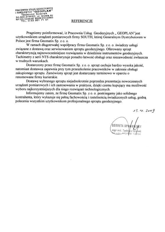 """Referencje 2009 dla sprzedaży, serwisu geodezyjnego i wsparcia technicznego oraz opinia o sprzęcie pomiarowym (tachimetry SOUTH) od firmy""""GEOPLAN"""" Tadeusz Szarek"""