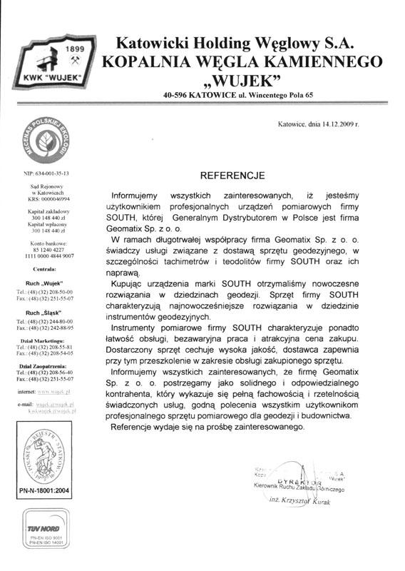 """Referencje 2009 dla sprzedaży i wsparcia technicznego oraz opinia o sprzęcie geodezyjnym (tachimetry, teodolity SOUTH) od Katowickiego Holdingu Węglowego S.A. KWK """"Wujek"""""""