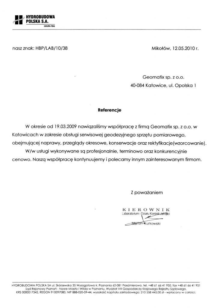 Referencje 2010 dla serwisu geodezyjnego od firmy Hydrobudowa Polska S.A.