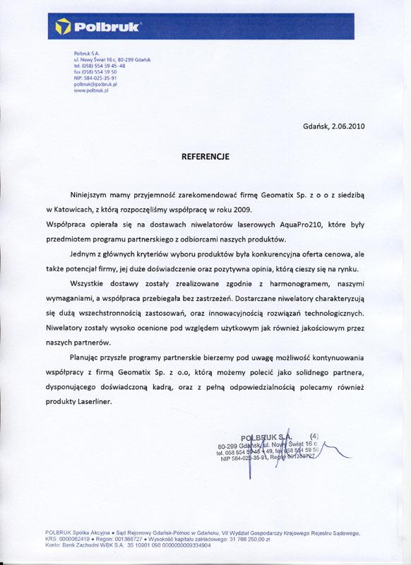 Referencje 2010 dla serwisu geodezyjnego i opinia o sprzęcie pomiarowym (niwelatory Laserliner) od firmy Polbruk S.A.