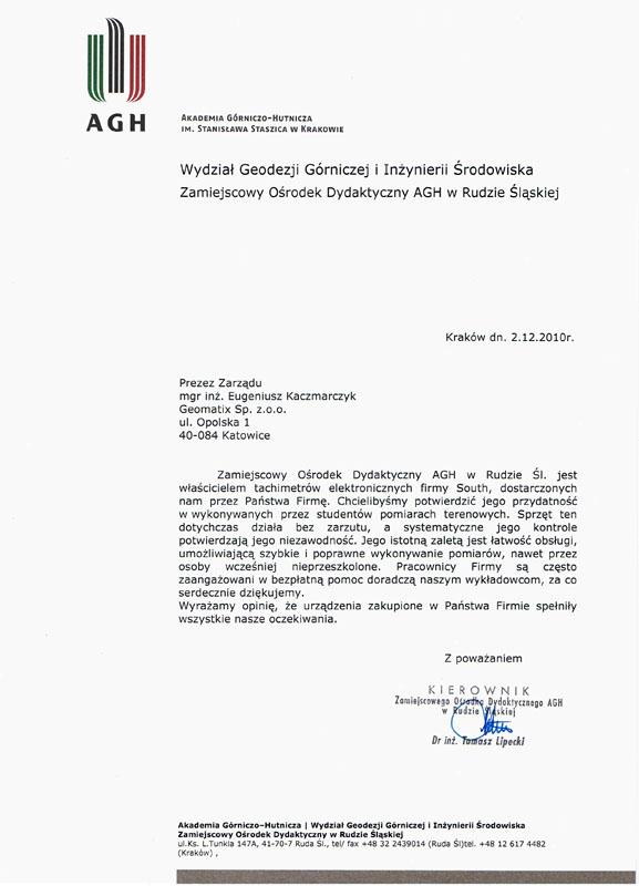 Opinia 2010 o sprzęcie pomiarowym (tachimetry SOUTH) i referencje dla wsparcia technicznego  od Akademii Górniczo - Hutniczej w Krakowie