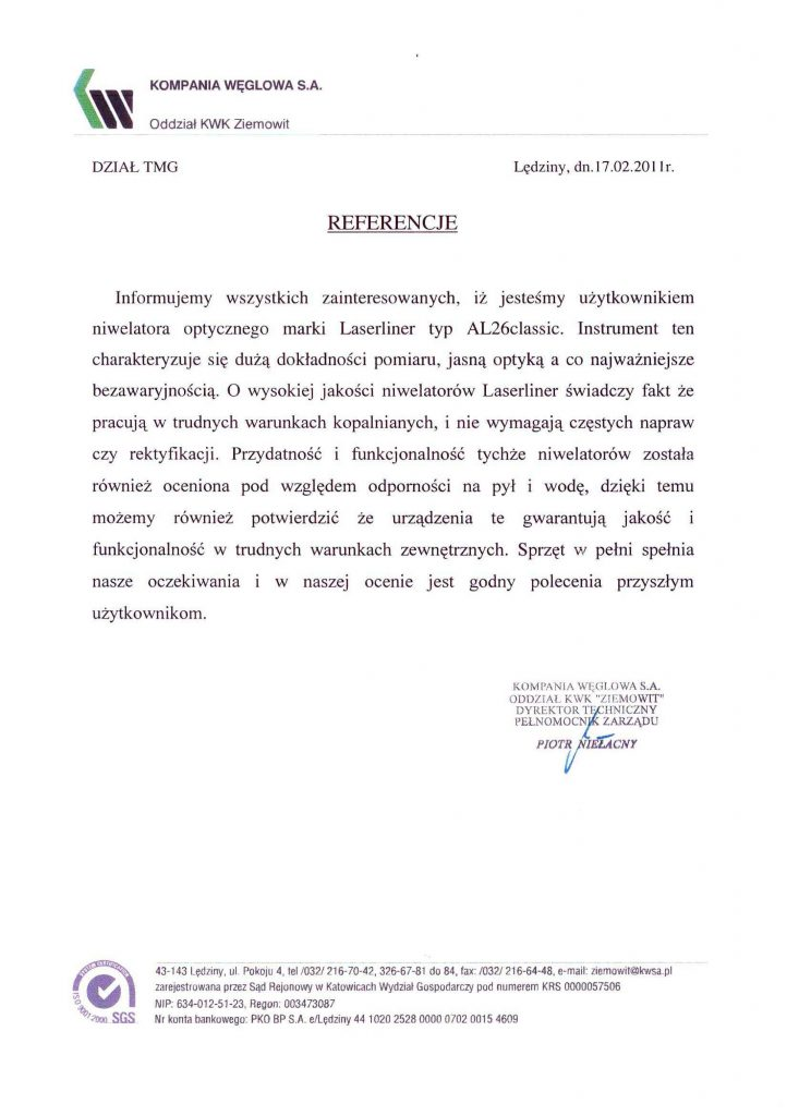Opinia 2011 o sprzęcie pomiarowym (niwelatory optyczne Laserliner) od Kompanii Węglowej S.A. Oddział KWK Ziemowit