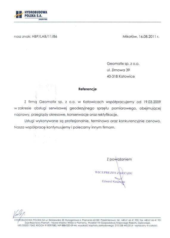 Referencje 2011 dla serwisu geodezyjnego od firmy Hydrobudowa Polska S.A.