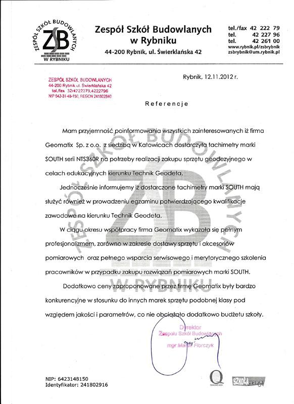 Referencje 2012 dla sprzedaży i opinia o sprzęcie pomiarowym (tachimetry SOUTH) od Zespołu Szkół Budowlanych w Rybniku