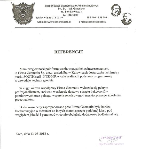 Referencje 2013 dla sprzedaży, serwisu geodezyjnego i wsparcia technicznego od Zespołu Szkół Ekonomiczno-Administracyjnych w Kole