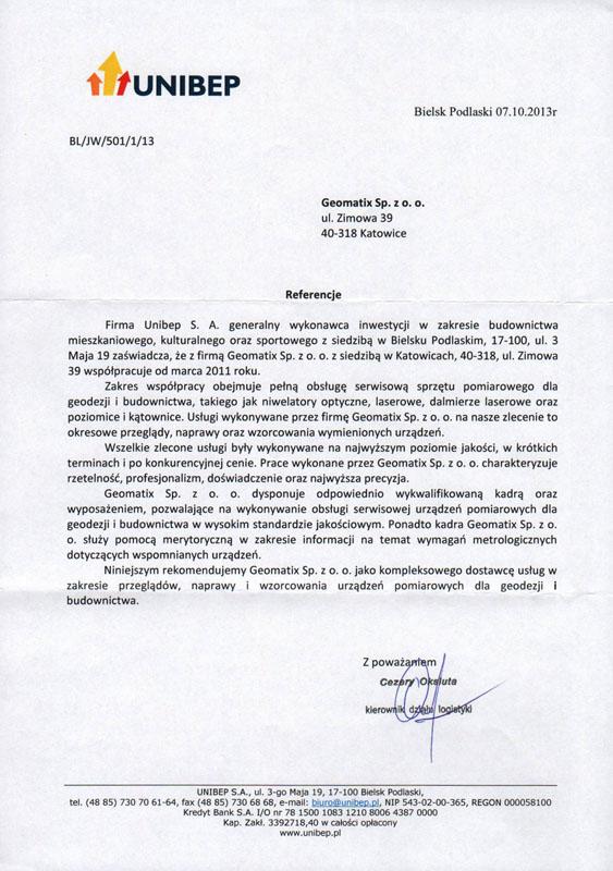 Referencje 2013 dla serwisu geodezyjnego, laboratorium kontrolno-pomiarowego i wsparcia technicznego od firmy UNIBEP S.A.