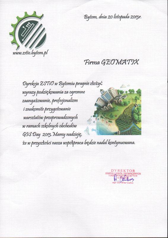 GIS Day 2013 - Podziękowanie dla Geomatix od Dyrekcji ZSTiO w Bytomiu