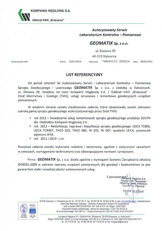"""Referencje 2014 dla serwisu geodezyjnego od Kompanii Węglowej S.A. oddział KWK """"Brzeszcze"""""""
