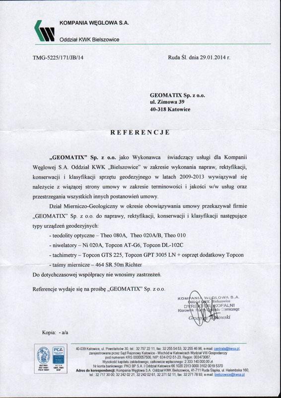 """Referencje 2014 dla serwisu geodezyjnego od Kompanii Węglowej S.A. oddział KWK """"Bielszowice"""""""