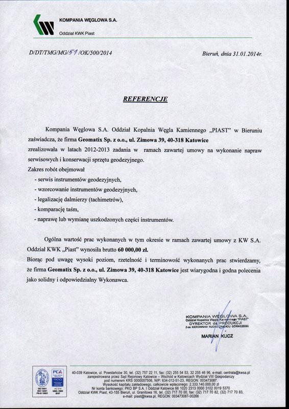 """Referencje 2014 dla serwisu geodezyjnego od Kompanii Węglowej S.A. oddział KWK """"Piast"""""""