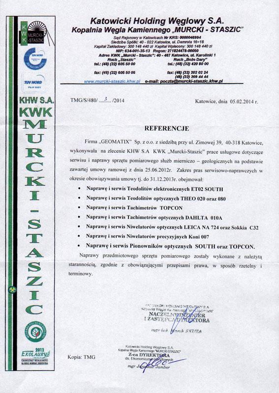 """Referencje 2014 dla serwisu geodezyjnego od Katowickiego Holdingu Węglowego S.A. KWK """"Murcki - Staszic"""""""