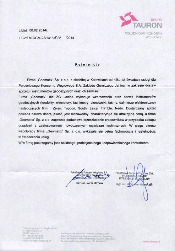 Referencje 2014 dla serwisu geodezyjnego i laboratorium kontrolno-pomiarowego od Grupy Tauron - Południowy Koncern Węglowy S.A. w Libiążu