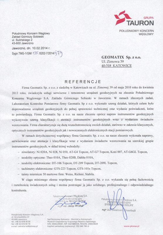 Referencje 2014 dla serwisu geodezyjnego i laboratorium kontrolno-pomiarowego od Grupy Tauron - Południowy Koncern Węglowy S.A., Zakład Górniczy Sobieski w Jaworznie