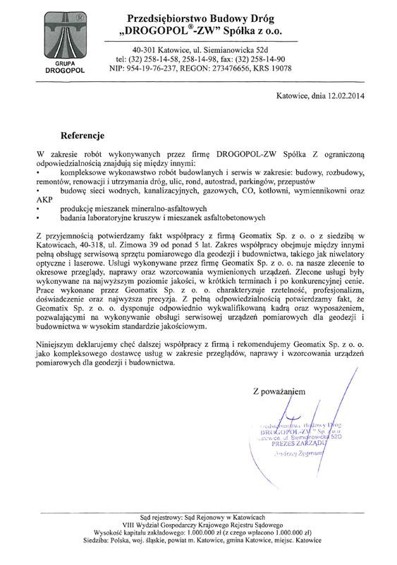 """Referencje 2014 dla serwisu geodezyjnego i laboratorium kontrolno-pomiarowego od Przedsiębiorstwa Budowy Dróg """"DROGPOL -ZW"""" Sp. z o.o."""