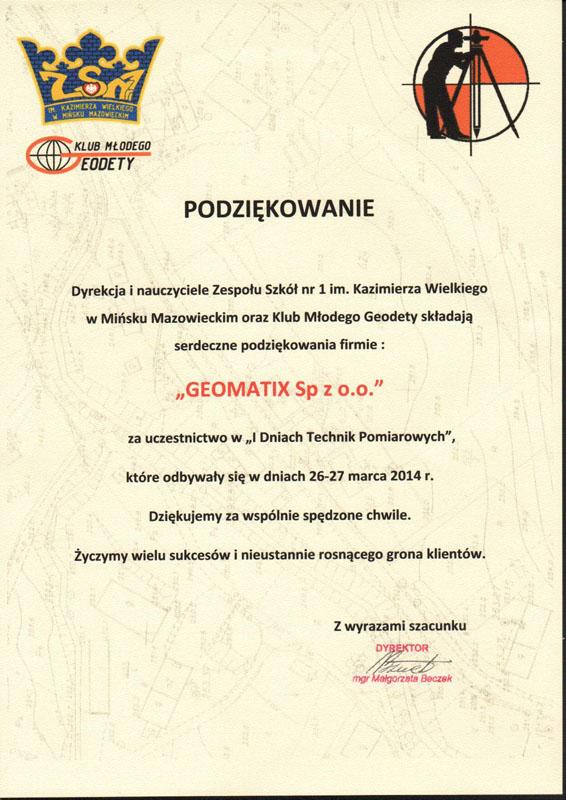 I Dni Technik Pomiarowych 2014 - Podziękowanie dla Geomatix od Zespołu Szkół nr 1 w Mińsku Mazowieckim i Klubu Młodego Geodety